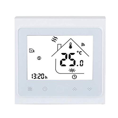 WLPT Smart WLAN-Thermostat, LCD-Touchscreen-Heizthermostat Support Timing-Programmierung App-Steuerung für elektrische Heizung iOS Android,White