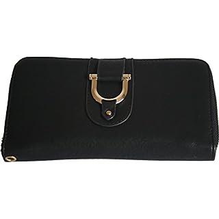 H & G Damen Große Designer-Geldbeutel \ Wallet mit Durchgehender Reißverschluss und Steigbügel Detail - Schwarz