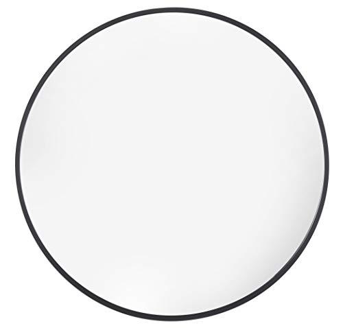 Home Selections - Espejo Circular con Marco de Metal 66 cm, Color Negro