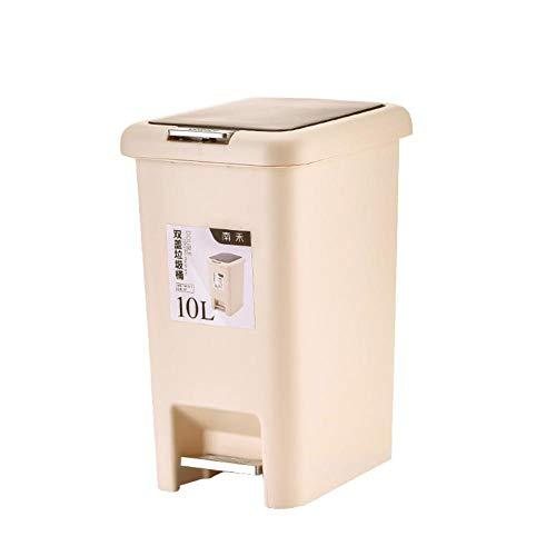 DaoRier 10L Plástico Cubos de Basura Tipo de Pedal Bote de Basura Silencioso Usado en Casa Oficina...