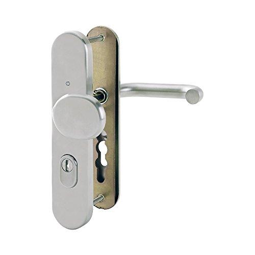 Cerradura blanca con asa para puerta izquierda y caravana cilindro y llaves.