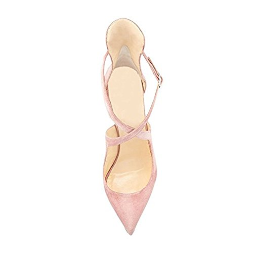 Damen Spitze Zehen Sandalen Lack High-Heels Stiletto Criss Cross Hochzeit Party Samt Pink