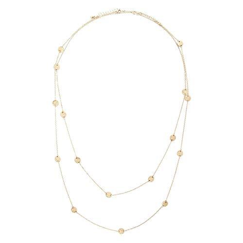 SonMo Anhänger Halskette Vergoldet Halsbänder Choker Halskette Mehrreihig Kette Runder Bienenwaben Runder Anhänger Gold Damen Kette 2 Teilig