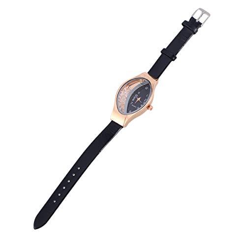 Hemobllo Frauen Uhr Metall Quarz Diamant Dekorative Digitale Armbanduhr für Freundin Mutter Geschenk Geschäft (Schwarz)