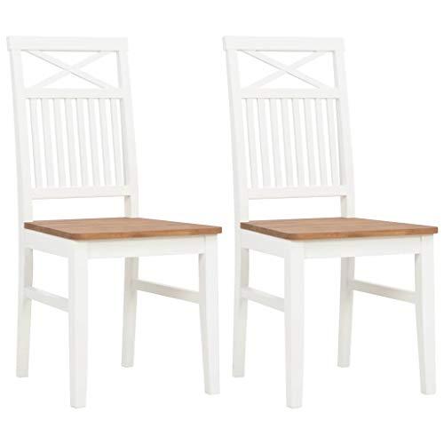 Festnight- Esszimmerstühle 2 Stück Küche Stühle Wohnzimmerstuhl Esszimmerstuhl Bürostuhl Weiß 44x59x96 cm Massivholz Eiche -
