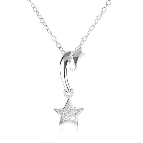 OrdoŠ diamonds® cometa, argento 925, collana da donna, collana in argento 925, superficie liscia e lucida, zirconi chiari, stella, punzonatura, 1.5g