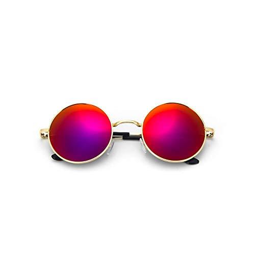 MJDABAOFA Sonnenbrillen Retro Vintage Gotischen Steampunk Runde Metall Gold Lila Sonnenbrille Für Männer Frauen Gespiegelt Kreis Sonnenbrille Männlichen Oculos