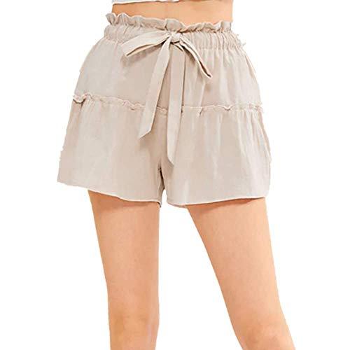urze Hose Bettwäsche Baumwolle Solid Einfarbig Patchwork Rüschen Casual Lose Mini Dress Hosen Freizeithose Stoffhose A Line High Waist Pyjama Pajamas Trousers (S,Beige) ()