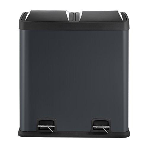 Mari Home Negro 60L Cubo de basura de acero Basurero reciclaje Dos compartimientos Con penal (2 penal, 2x30L)
