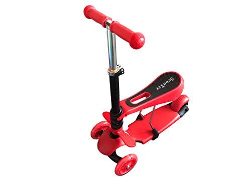 Scooter per bambino modello 3in 1,multifunzionale, prima fase per imparare a guidare, sedile regolabile e ruota lampeggiante
