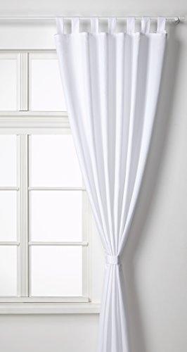 Vorhang Blickdicht Matte unifarbene Gardine mit Schlaufen. Aus edlem Microsatin Micofaser-Gewebe. 245x140, Weiß, 20400