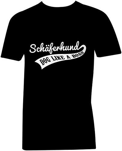 Schaeferhund Dog Like A Boss ★ V-Neck T-Shirt Männer-Herren ★ hochwertig bedruckt mit lustigem Spruch ★ Die perfekte Geschenk-Idee (01) schwarz