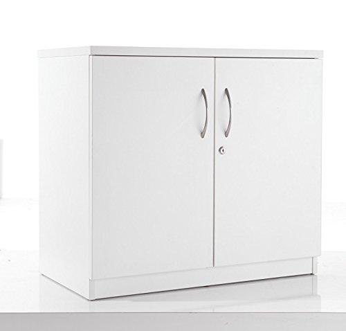 BiMi White Desk High Cupboard, Lockable Double Doors 2 Shelf – Office Cupboard