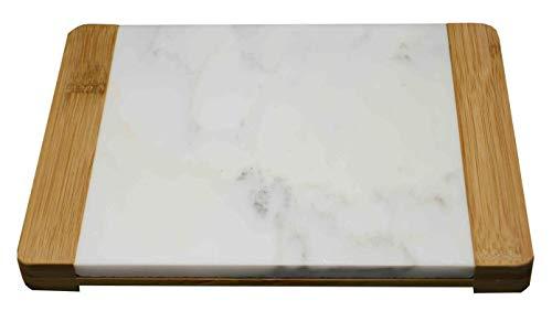KASA Schneidebrett aus Marmor und Bambus mit Griff, 26x20 cm, Hackbrett