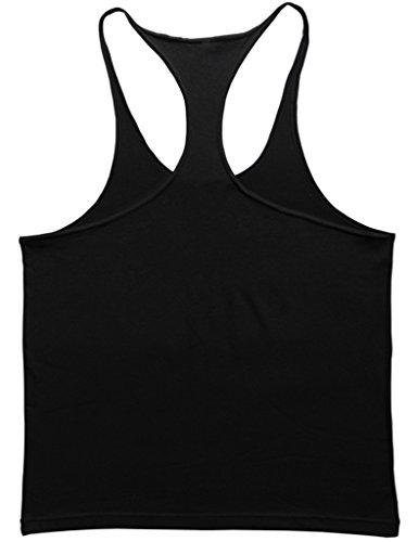 Musclealive Herren Fitnessstudio Stringer Unterhemd 1 cm Strap Dehnbares Material Aus Baumwolle Pln Black