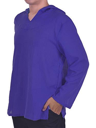 new style 5e025 31a8b Lofbaz Homme Hoodie Hippie Chemise de Plage Yoga Boho 100% Coton Doux -  Unie Bleu