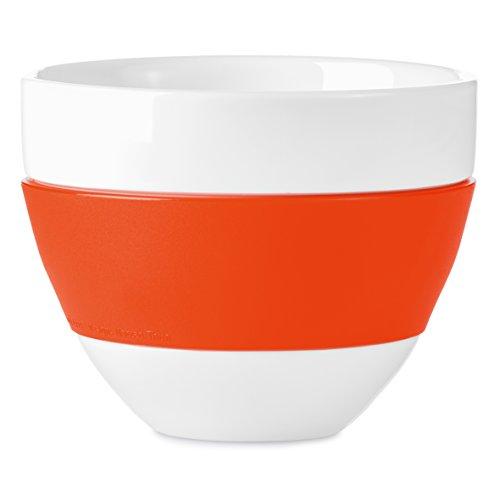 koziol Milchkaffee-Tasse 300 ml Aroma, Porzellan/Kunststoff, solid orangerot, 10,8 x 10,8 x 8,6 cm