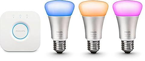 Philips Kit de démarrage 3 ampoules Hue White and Color E27 + pont de connexion Hue 2ème génération