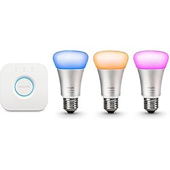 Philips Hue White and Color Starter Kit Illuminazione, Include 3 Lampadine Led E27 e 1 Bridge Hue, Imballaggio Apertura Facile