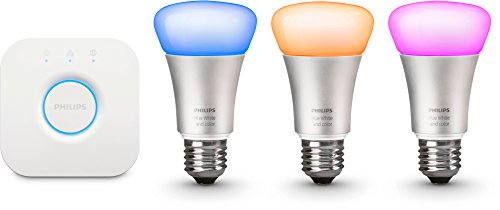 Philips Hue White and Color Starter Kit Illuminazione, Include 3 Lampadine Led E27 e 1 Bridge Hue, Imballaggio Apertura Facile