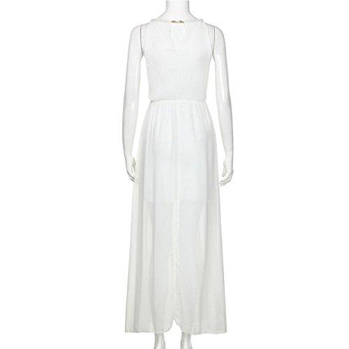 DAY8 femme vetements robe femme chic soiree longue cocktail ete femme vetement pas cher grande taille robe femme fashion sans manches pour mariage robe fille élégant vintage printemps Blanc