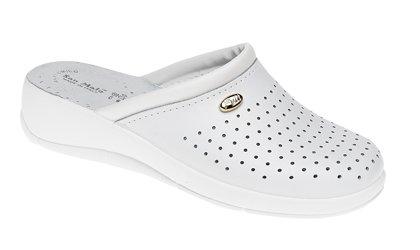 San Malo - Pantofole sanitarie da donna in pelle Bianco