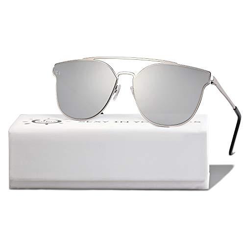 SOJOS Handgemacht Rostfreier Sathl Hochwertig Kein Nickel Schicke Sonnenbrille für Damen Herren Verspiegelt SJ1100 mit Silber Rahmen/Silber Verspiegelte Linse