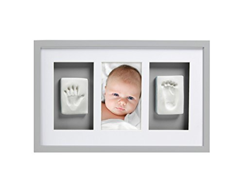 Pearhead Babyprints Handprint and Footprint Deluxe Wall Frame, Gray