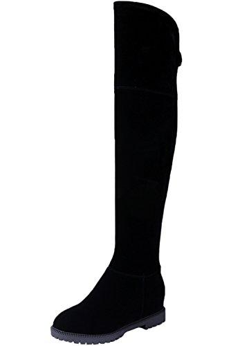 Botas equitacion Mujer Negro Ante sintética Elegantes Aumento Otoño Invierno Caliente Casual Botas Altas de Rodilla De BIGTREE 36 EU