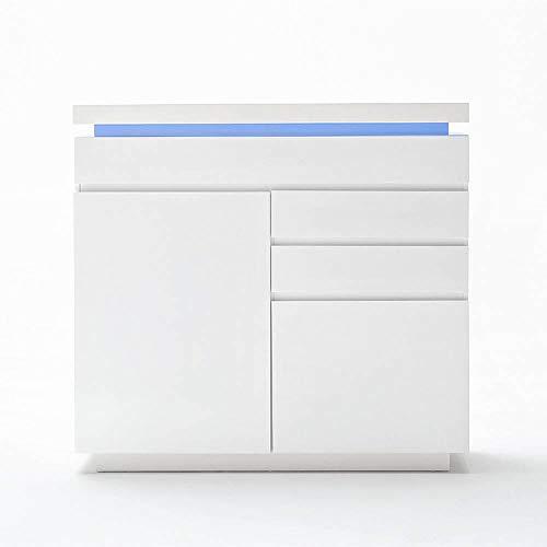 INSIDE Buffet Haut Ocean laqué Blanc Brillant 2 Portes 3 tiroirs LED Blanc Inclus