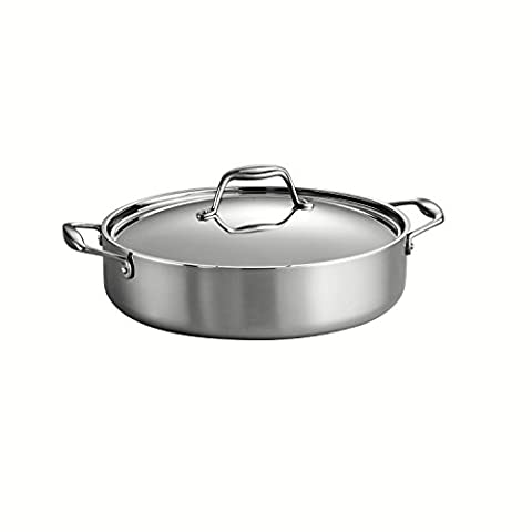 Tramontina 80116/015DS Gourmet 18/10 Stainless Steel Induction-Ready Tri-Ply Clad Covered Braiser, 5-Quart, Stainless by Tramontina