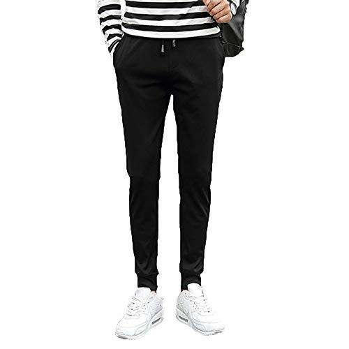 VPASS Pantalones para Hombre,Pantalones Moda Pop Casuales Chándal de Hombres Jogging Color Sólido Negro Pants Trend Largo Pantalones Diseño de Personalidad