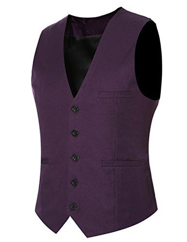 YCHENG Gilet Veste Sans Manche Homme Multicolore Gilets Violet