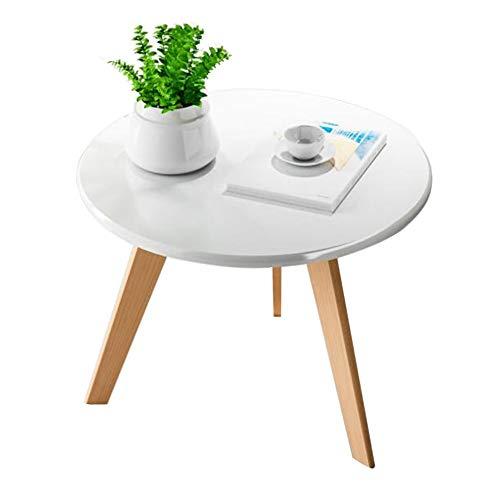Tables CJC Rétro Rond MDF Bureau, Naturel Jambes, Côté Café À Manger Lampe Fin, 50x39cm (Couleur : White a)