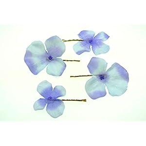 clarigo Haarnadeln Haarklammern Haarklemme Hortensie Veilchen blau Kommunion Blumen Blumenmädchen