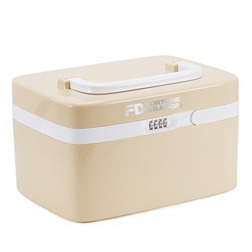 Medizin-Box Medikamentenbox Hilfe Box Arzneischrank tragbare Medizin Schrank FORTUNE DRAGON Medikamentenschrank mit Passwortschutz und süß Design, auch als Aufbewahrungbox