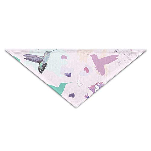 Pet Scarf, Multi Colorful Hummingbird Floral Print Dog Bandanas Scarves Triangle Bibs Scarfs Novelty Basic Neckerchief Cat Collars Pet Costume Accessory Kerchief Holiday Birthday Gift Multi Print Scarf