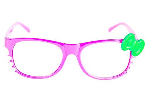 le Kitty ohne Seh-Stärke Damen Fenster-Glas Fasching Karneval Rosa Grün Panto-brille Wayferer Horn-Brille Party-Brille (Fenster Kostüm)