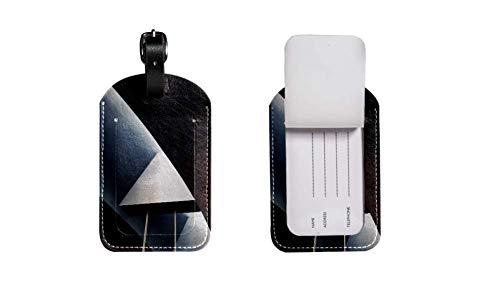 PU-Leder-Gepäcketikett Koffer, verstellbares Lederband Kratzfest Etikett, stilvolles Design Fotografie des Gebäudes Zeichnen