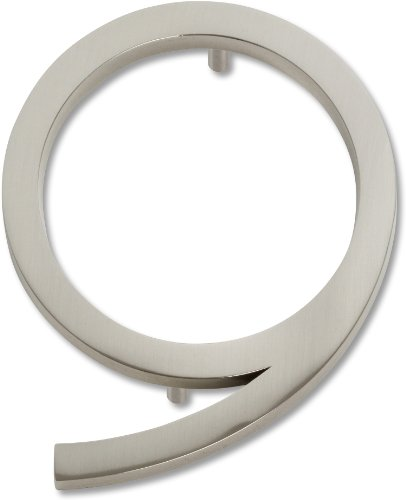 -BRN Modern Avalon 4.5-Inch No. 9 House Number, Brushed Nickel by Atlas Homewares ()