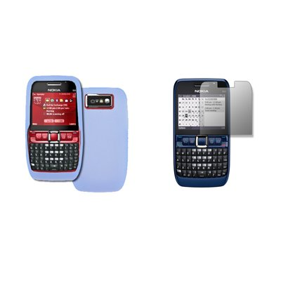 Blue Soft Silicone Gel Skin Cover Case + LCD Screen Protector for Nokia E63 [By Accessory Export][5A-AE001]