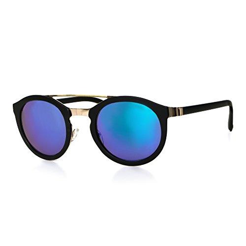 der Herren Unisex Motorradbrille Retro Verspiegelt UV400 CAT 3 CE-Norm schwarz weiß blau gold von EYES ON ME, Farbe:Schwarz Gold Blau Grün Verspiegelt (Schwarze Und Weiße Vintage Cat Eye Brille)
