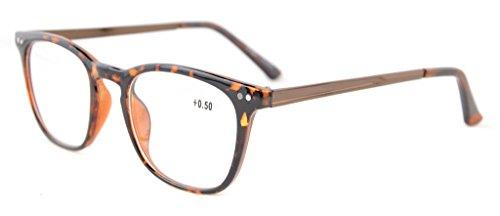 Eyekepper Lettori Retro quadrato di plastica Arms struttura in metallo occhiali da lettura Tortoise +3.0 - Tortoise Plastica Occhiali