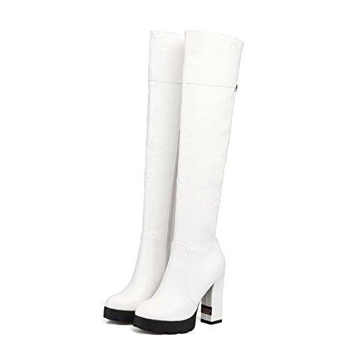 VogueZone009 Damen Hoch-Spitze Ziehen auf Weiches Material Mittler Absatz Rund Zehe Stiefel, Weiß, 34