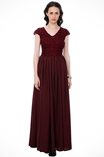 CATION Beautifull Party & Casual Wear Cap Sleeve V Neck Maxi Dress for Women Girls