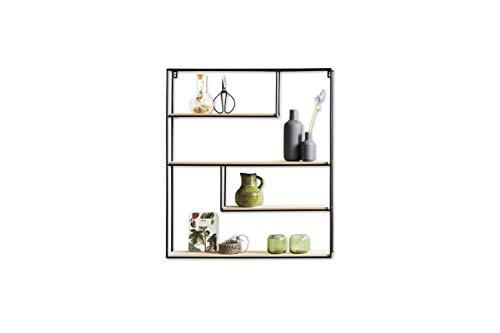 Schwarzes Holz Regal (LIFA LIVING Wandregal aus Holz & schwarzem Metall mit 4 Böden | Schwebendes Vintage Holzregal im Naturstil mit 4 Etagen | Küchenregal Gewürzboard Gewürzständer (70 x 60 x 11 cm))