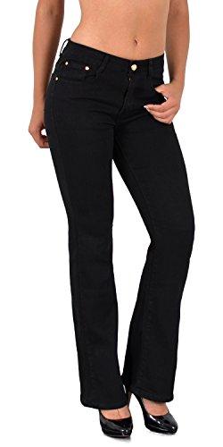 ESRA Damen Jeans Bootcut Jeanshose Schlaghose Damen Hose bis Übergröße 50, 52, 54 J111
