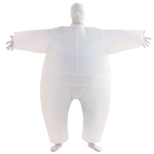 THEE Aufblasbares Kostüm Japan Sumo für Halloween Karneval Fastnacht Fasching Erwachsene Fett Anzug,Weiß