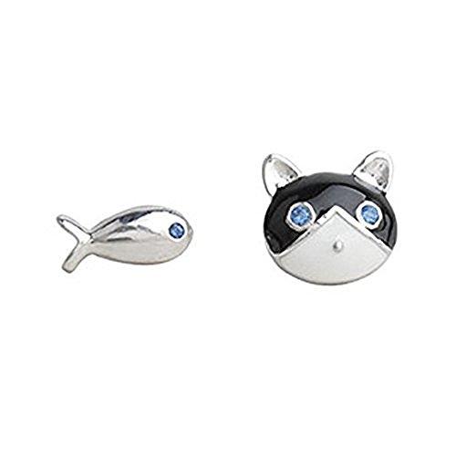 iszie Schmuck Blau Eyed Kitty Katze und Fisch Emaille Ohrstecker mit glänzend Kristalle -