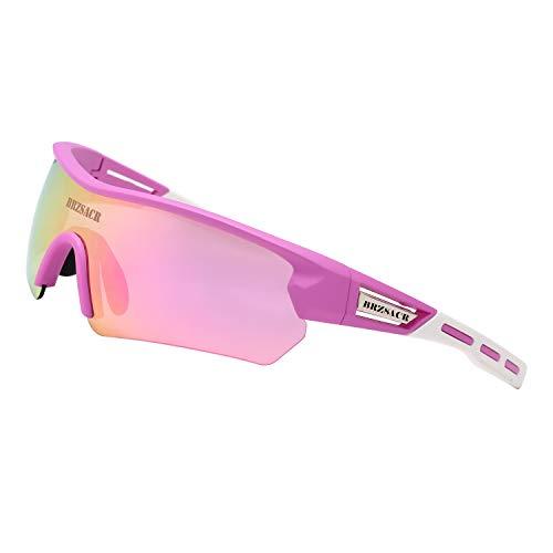 BRZSACR Gafas de Sol Deportivas polarizadas Protección UV400 Gafas de Ciclismo con 5 Lentes Intercambiables para Ciclismo, béisbol, Pesca, esquí, Funcionamiento (Rosa)